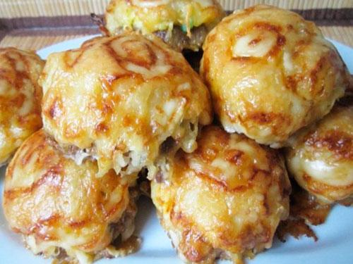 Мясные стожки из фарша с картофелем и сыром рецепт с пошагово